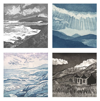 Landscape etchings and aquatint